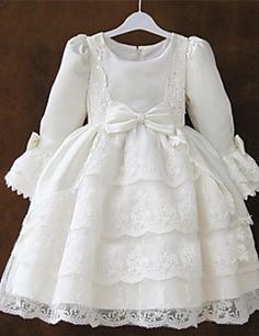 Flower Girl Dress Knee-length Lace/Satin Princess Long Sleev... – USD $ 39.99