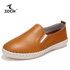 ZOCN Women Loafers Student Casual Shoes Woman Ballet Flats Genuine Leather Shoes Slip On Shoes For Women Nurse Shoes 35-40