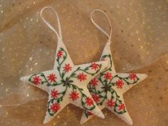 Set of 2 White Felt Embroidered Christmas Star Ornaments