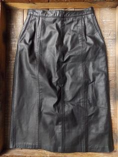 Leather Skirt Size Medium Pencil Black Hi Waisted Vintage 80s Motorcycle Biker #ReedSportswear