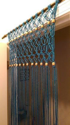 Boho handcrafted Macrame Turquoise Door Curtain by SimplyEntwined (bohemian art projects) Modern Macrame, Macrame Art, Macrame Projects, Art Projects, Macrame Curtain, Beaded Curtains, Turquoise Door, How To Make Curtains, Macrame Patterns