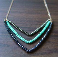 Chevron Pyrite Turquoise Necklace 14k Gold