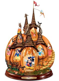 Pumpkin-shaped Disney castle features Archived Disney imagery of 12 beloved characters, lights up from within and plays eerie Halloween sounds. Halloween Sounds, Scary Halloween, Halloween Pumpkins, Happy Halloween, Mickey Mouse Halloween, Halloween Ideas, Disney Gift, Walt Disney, Disney Fun