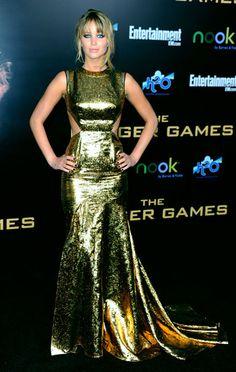 Jennifer Lawrence at The Hunger Games LA premiere, wearing Prabal Gurung