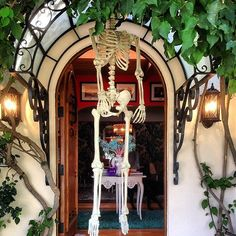 Boo! A hanging skeleton in the doorway is so easy but so fun.