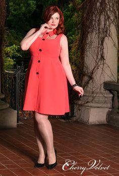 Marcia Dress- Coral - Ruby Roxx - Cherry Velvet Plus