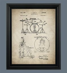 Vintage Drum Set Patent Print Drum Set Art by VintageArtRevived