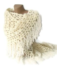 crochet shawl ivory handcrocheted shawl women fashion by seno by Senem An