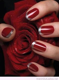 Red nails with silver tips for Christmas