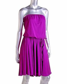 Milena Iris Purple Hi-Low MATTE JERSEY Strapless Casual Dress Womens Juniors M #Milena #ShirtDress #Casual