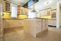 Beautiful large bright kitchen interior in traditional style