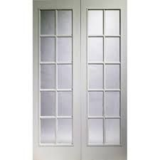 Image Of Interior French Door, Portobello White Primed Door Pair With Clear  Safety Glass