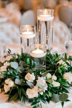 Tall Vase Centerpieces, Candle Wedding Centerpieces, Wedding Table Centerpieces, Floating Candles Wedding, White Flower Centerpieces, Greenery Centerpiece, Quinceanera Centerpieces, Simple Elegant Centerpieces, Flower Arrangements
