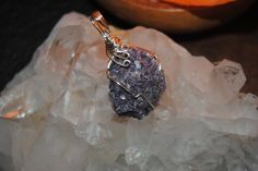 Lepidolite pendant natural crystal raw stone handmade wire wrapped silver toned by GladStonesNSage on Etsy