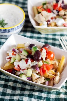Easy Loaded Greek Fries with Chicken ~ http://www.healthy-delicious.com
