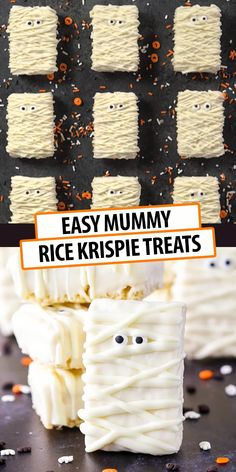 Mummy Rice Krispie Treats are such a fun Halloween party food idea! Made with only three ingredients, they're the perfect easy recipe for Halloween parties. Comida De Halloween Ideas, Halloween Snacks For Kids, Halloween Appetizers, Halloween Dinner, Halloween Food For Party, Halloween Halloween, Halloween Deserts Easy, Halloween Brownies, Halloween Breakfast