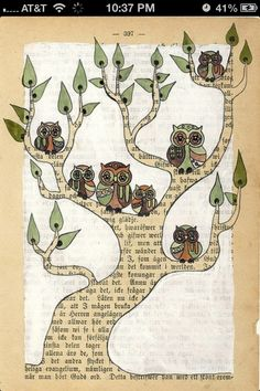 Old book page owl art