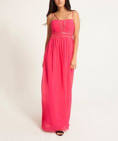 Look what I found on #zulily! Little Mistress Pink Double-Strap Maxi Dress by Little Mistress #zulilyfinds