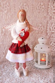 """""""Моя любовь - тебе..."""" Текстильная кукла ангел тильда - ярко-красный,красный"""