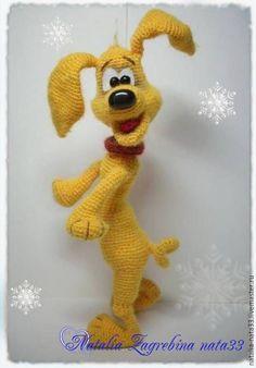 Купить Собака танцевака - желтый, символ 2018года, игрушка крючком, подарок на новый год