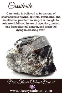 Cassiterite ~ Shamanic Journeys-Spiritual Grounding-Intellectual Problem Solving-Rejection-Protection-Crossing Over Shop new raw crystals online now at The Crystal Man! Crystal Healing Stones, Crystal Magic, Stones And Crystals, Gem Stones, Minerals And Gemstones, Crystals Minerals, Rocks And Minerals, Chakra Crystals, Krystal