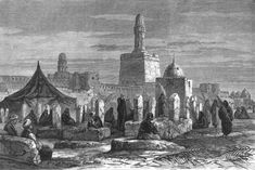 EGYPT A Cemetery at Cairo Visited by Mourners in the Bayram old print 1882