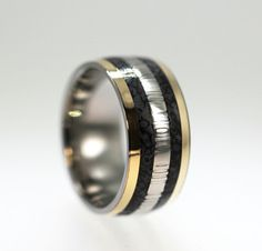 Dinosaur Bone Ring with Damascus and 14K Yellow Gold Inlay - Very Rare and Unique - Signature Series