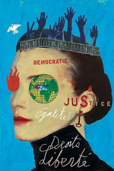 Oeuvre représentant la faculté de science politique et de droit en couleur