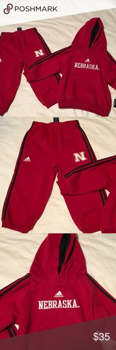 2T/24 Months NWT Adidas Nebraska Huskers Set Collegiate official. University of Nebraska CornHusker gear. Sized 24 months or 2T. Sweat shirt style and material. Brand new, no flaws. Reasonable offers accepted. No low balling. Adidas Matching Sets
