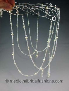 Crystal Wedding Veil, Hand Beaded Crystal Veil, Crystals & Pearls Veil Drape, LOTR, Arwen, Elven Circlet