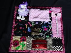 Girlie Girl Glam- Fidget Quilt- Tactile - Bright & Colorful- Fun for Alzhiemer Patients