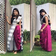 from - Drape a saree over your culottes. Urvashi looks stunning in a dyed silk saree by Drape Sarees, Dhoti Saree, Lehenga Blouse, Kurti, Half Saree Designs, Sari Blouse Designs, Saree Blouse Patterns, Stylish Sarees, Trendy Sarees