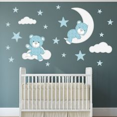 Fabric Stitch Bear, Stars, Clouds and Moon Enchanted Interiors Premium Self Adhesive Fabric Nursery Wall Decals Approx Scene Size: 59 wide x high wide x high) Captivate your babys imagination with our cute cuddly teddy bears nursery stickers featuring a Neutral Wall Stickers, Wall Stickers Stars, Baby Wall Stickers, Nursery Wall Stickers, Baby Boy Rooms, Baby Boy Nurseries, Nursery Themes, Nursery Room, Bedroom