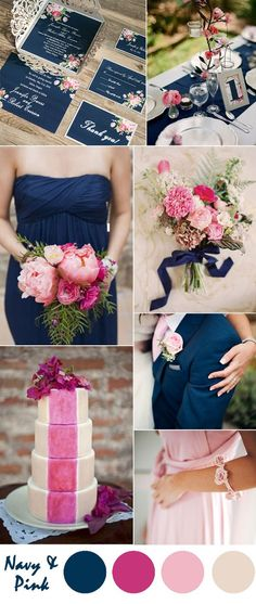navy blue and pastel pink country wedding ideas