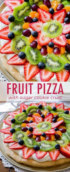 a classic! This colorful, delicious fruit pizza has the works and is baked on my soft sugar cookie crust. Recipe on You can't beat a classic! This colorful, delicious fruit pizza has the works and is baked on my soft sugar cookie crust. Recipe on Fruit Cookies, Soft Sugar Cookies, Sugar Cookies Recipe, Cookie Recipes, Snack Recipes, Healthy Recipes, Recipes With Fruit, Fruit Deserts Recipes, Fruit Cookie Recipe