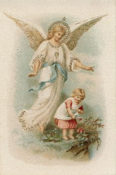 The Archangel Angel Antique French Holy Card Catholic image Religious ephemera Catholic Gift angel Guardian Angel Pictures, Angel Images, Gardian Angel, Entertaining Angels, Jesus E Maria, Vintage Holy Cards, Angel Drawing, I Believe In Angels, Religious Pictures