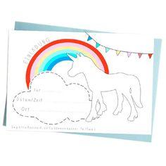 Einhorn Einladungskarten - Unicorn Invitations