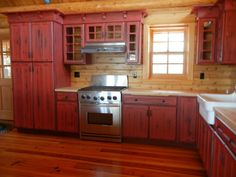 Rustic Red Kitchen Cabinets Barebones Ely Trend Homes Revolutionize Your With Ideas