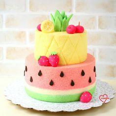 Pineapple Watermelon Chiffon Cake, Pineapple Chiffon Cake, Watermelon Chiffon Cake, Fruits Chiffon Cake