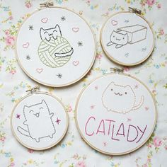 The Pink Samurai: Cat Lady Embroidery Patterns
