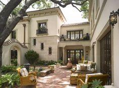 associ project, back patio, architectur, harrison design, dream homes, design associ, house facades, courtyards, exterior paint colors