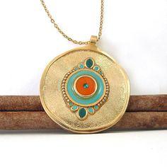 Gold long Necklace Turquoise & orange pendant  by @SigalitAlcalai, $59.00
