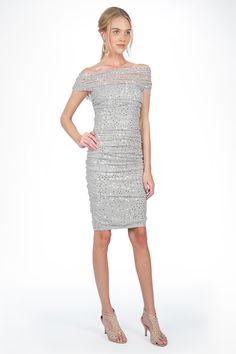 #GiftofTadashiShoji    Look 6: Shine & Sparkle in this Sequin Mesh Ruched Dress in Silver