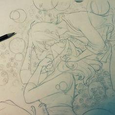 Utakata and Hotaru fanart, Maria  Scorzelli  on ArtStation at https://www.artstation.com/artwork/utakata-and-hotaru-fanart