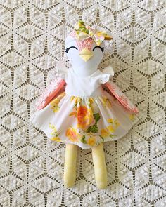 Handmade bird doll, vintage floral fabric and lace, custom doll
