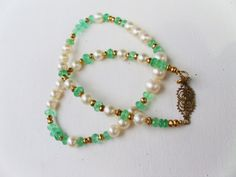 Emerald and Pearl Necklace with Gold Accents by OpenRoadsVintage, $475.00