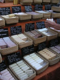 Nicely organized and attractive handmade soap display.