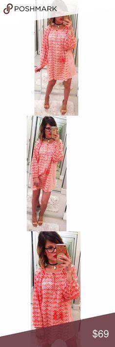 ➡Soft Joie Tassel Tie Print Dress⬅ A subtle coral print enlivens a breezy tunic dress embellished with tassels at the split V-neckline. Joie Dresses Long Sleeve
