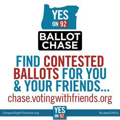 We are currently within a few thousand votes of winning. What will make the difference: around 13,000 ballots are left uncounted because of signature issues. Click the link to see if you or anyone you know is on the list of challenged ballots. https://chase.votingwithfriends.org/ We have less than 24 hours! #GMOs #LabelGMOs #righttoknow #food #yeson92