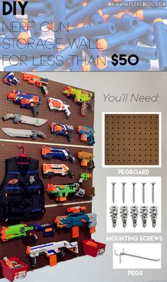 So many nerf guns--so little time! So here are loads of fun ideas on nerf gun storage so you can get them off the floor and organized! Nerf Gun Storage, Toy Storage, Pegboard Storage, Storage Ideas, Airsoft Storage, Wall Storage, Kids Storage, Pistola Nerf, Nerf War